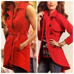 CAbi size 4 red trench double breasted coat dress